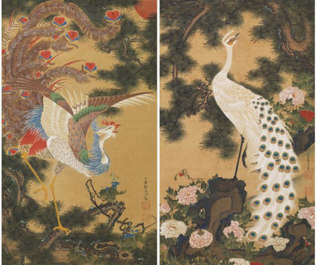 箱根岡田美術館で若冲「孔雀鳳凰図」公開!!与謝蕪村の絵画も。