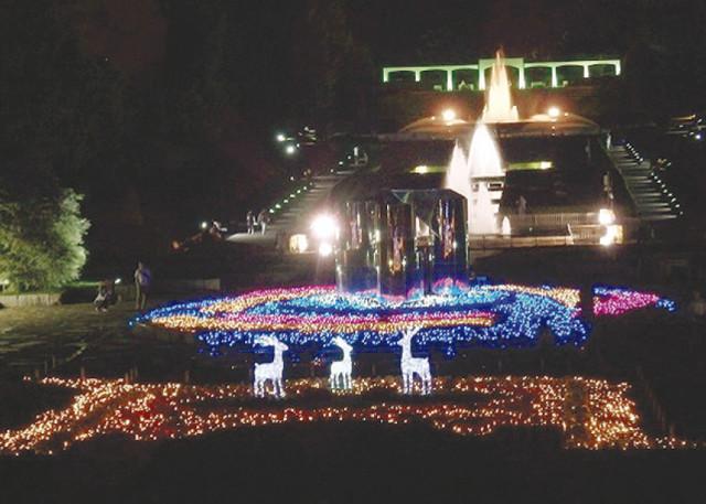 真夏の夜、フランス式庭園の噴水広場をライトアップ!8月11日~13日@神奈川県立相模原公園(相模原市)