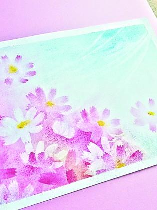 パステルアートで秋桜(コスモス)に挑戦しましょ。