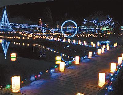 厳島湿生公園で「あかりの祭典」イルミネーション点灯は12月9日まで