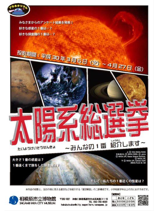 星・探査機好き集まれ「太陽系総選挙~みんなの1番紹介します~」をドーム投影@相模原市立博物館
