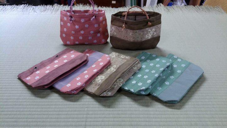 畳緑(桜柄)を使ったミニ畳、バッグ、ティッシュケースカバー