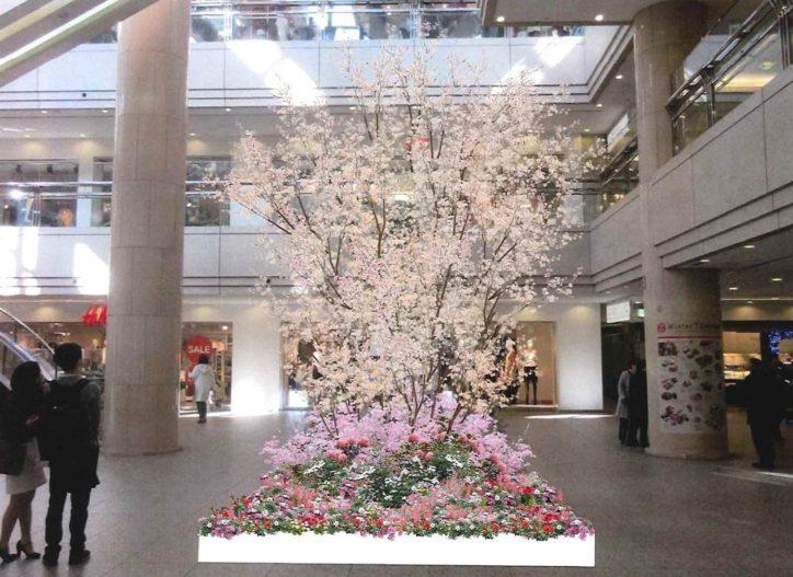 横浜ランドマークタワーで「スプリングフェスティバル」開催中。桜のフォトスポットも