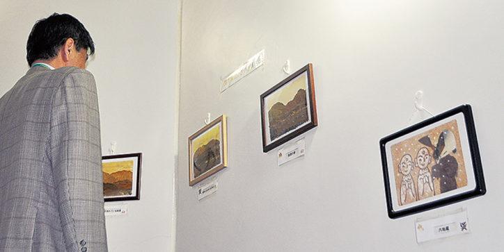 展示会「落ち葉のささやき」8月3日には貼絵教室も