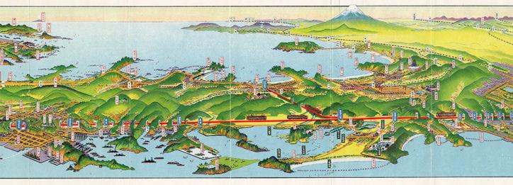 藤澤浮世絵館で「空から見る相模と日本 鳥瞰図(ちょうかんず)の系譜」