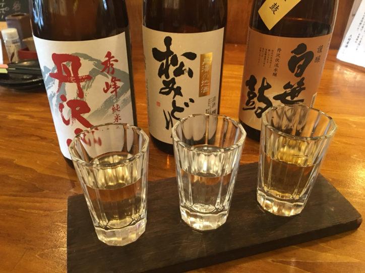 《丹沢のめぐみ》地酒3種飲み比べ