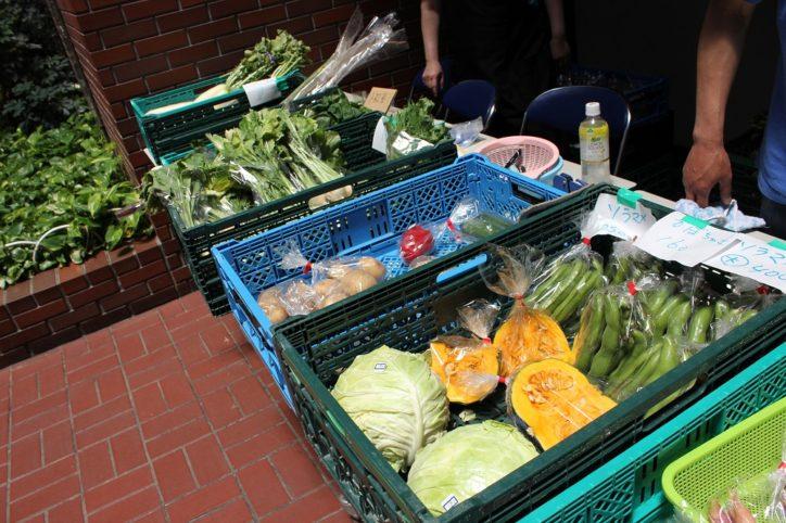 地元産直野菜販売も『フリーマーケット in 川崎市民プラザ』屋内なので雨でも大丈夫