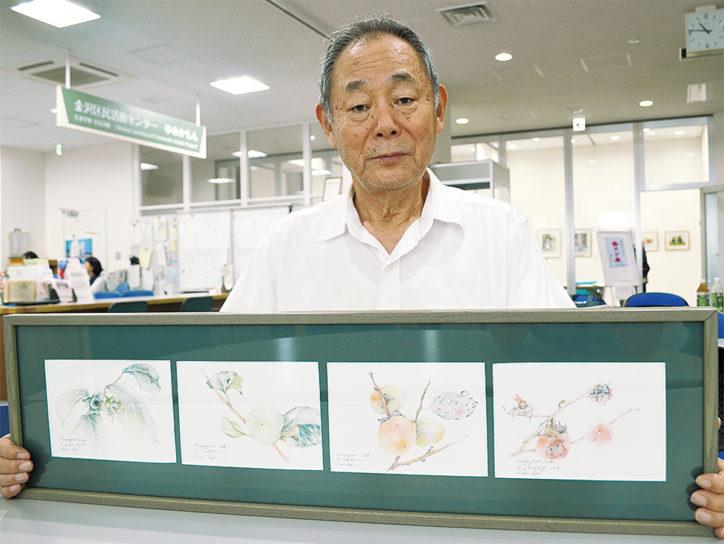 色鉛筆植物画と生け花展@金沢区役所多目的室