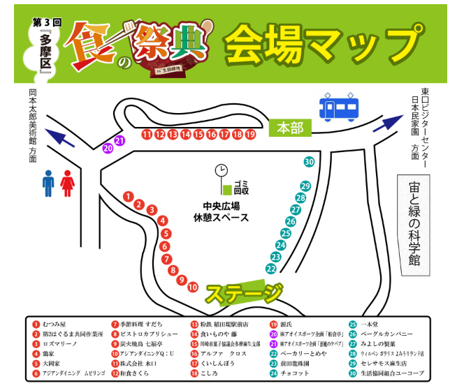 生田緑地で『食の祭典』多摩区内の30店舗以上が集合!音楽ライブも【11月25日(日)】