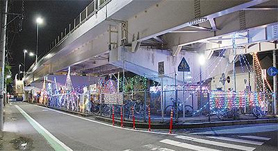 海老名市内最初のイルミ点灯@JR線「門沢橋駅」付近