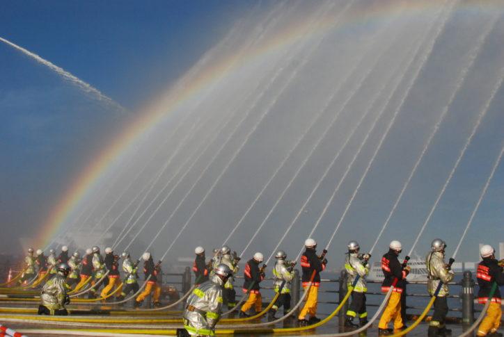 「横浜消防出初式2020」横浜赤レンガ倉庫