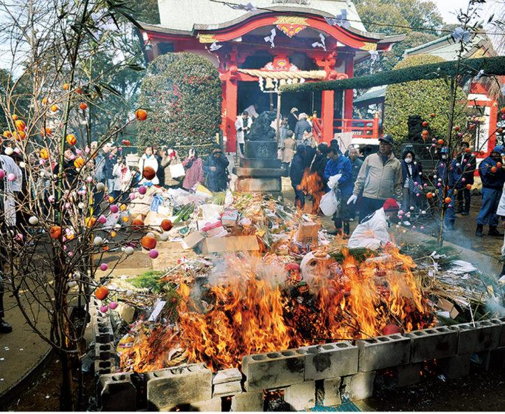 一年の無病息災願う「どんど焼き」1月15日@森浅間神社(横浜市磯子区)