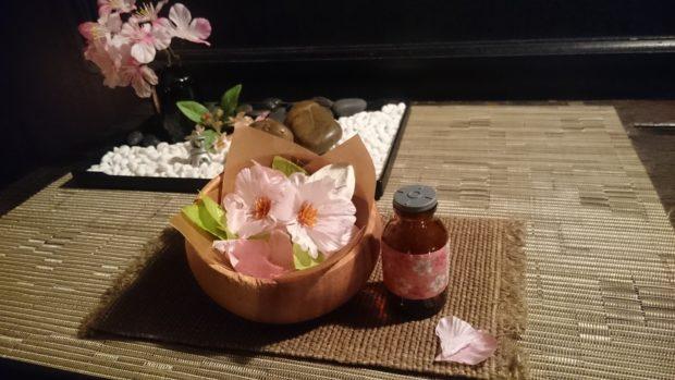 【桜快眠コース60分】 施術後、さくら茶でほっと一服