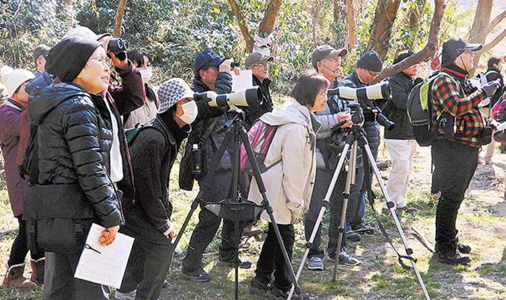 斉田浜や荻野川、沢山池を巡り歩く「冬の野鳥観察会」