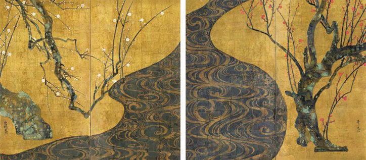 二宮に尾形光琳の国宝「紅白梅図屏風」原寸大レプリカがやってくる!