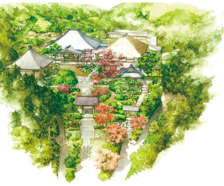 水彩画展「鳥の目で見る鎌倉の寺社」@長谷寺入口手前(普門寮)