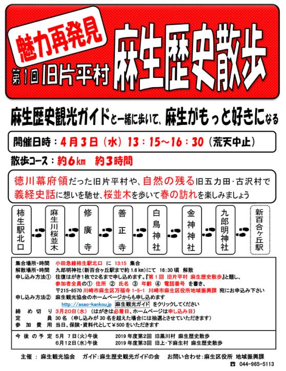 旧片平村や桜並木を歩く「麻生歴史散策」【約6㎞・要申込】