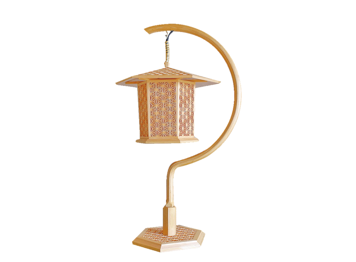 秦野産檜(ひのき) 組子細工 吊り灯篭(どうろう)