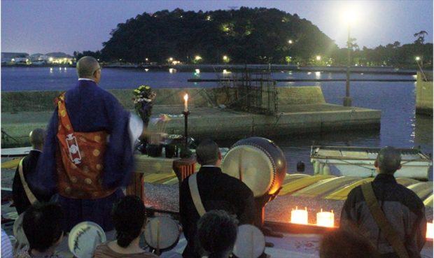 安立寺の灯ろう流し 8月16日、金沢漁港で【横浜・金沢区】