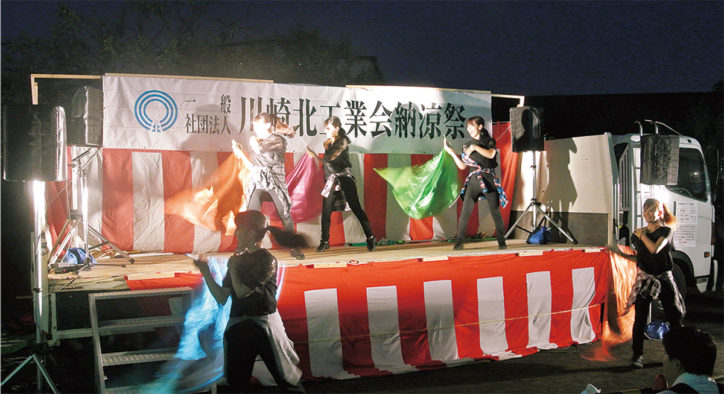 川崎北工業会「納涼祭」荷台ステージ、新調完了!「ふろん太君」も登場@久地梅林公園(高津区)