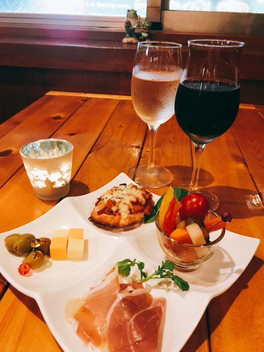 ドリンクと前菜4種「Ranaのアンティパストセット」1,000円@Wine&Meat  Bar  Rana