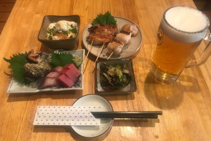 お酒に刺身or串焼き、小鉢2品の「大山コース」1,000円@串や いち