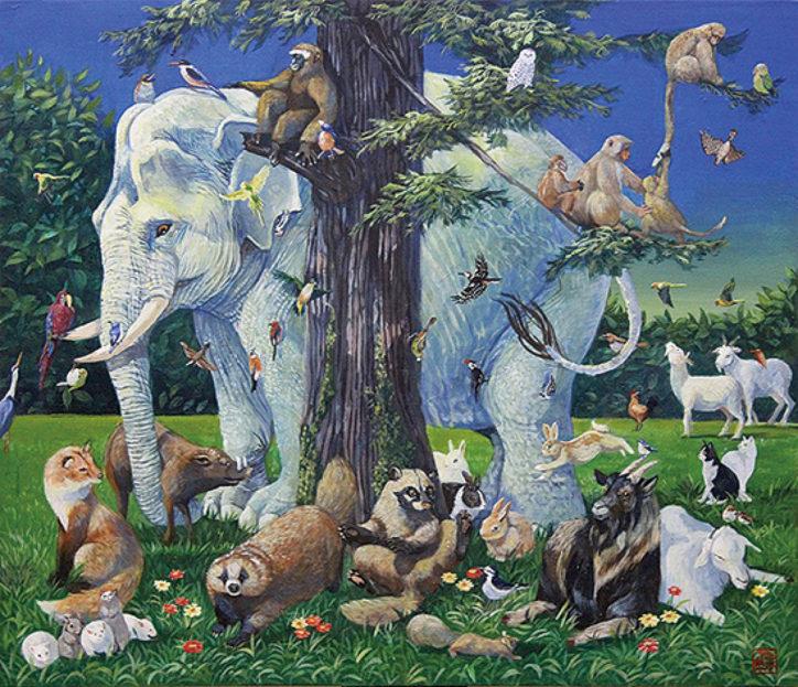 物語性ある動物絵画「生命の記憶Ⅲ」横浜市泉区の松本さんが個展開催!
