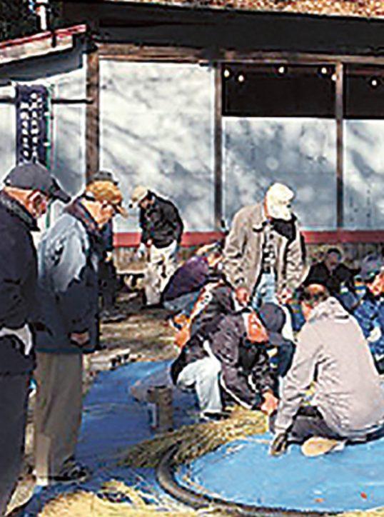 「しめなわ奉製と、おでんの会」が海老名・弥生神社で「しめ縄」と「茅の輪」づくり
