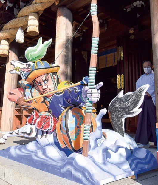 寒川神社の2021年迎春ねぶた「スサノオノミコト」をテーマに点灯 三密を避けて参拝を呼びかけ