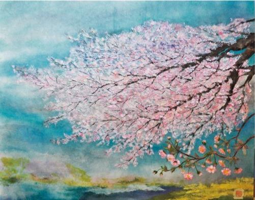 八王子市内で見つけた桜「和紙絵、アクリル画」を紹介@八王子市狭間(ギャラリーカフェさくら)