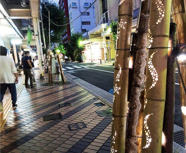 七夕飾りの廃材で「竹あかり」商店街を照らす@平塚市