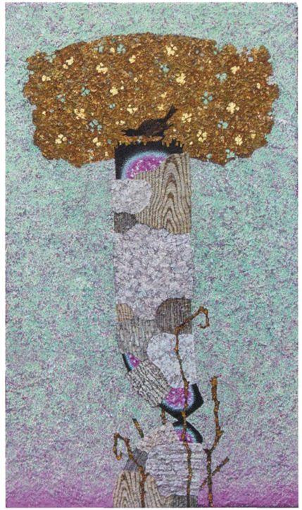 大磯町で「永井等 絵画展」アクリル絵の具と自然素材で表現