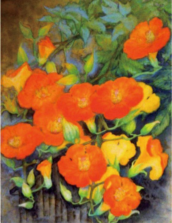 加藤晴枝さん日本画展「傍らの花々と」種や苗から育てた花々に勇気をもらって絵筆を握る