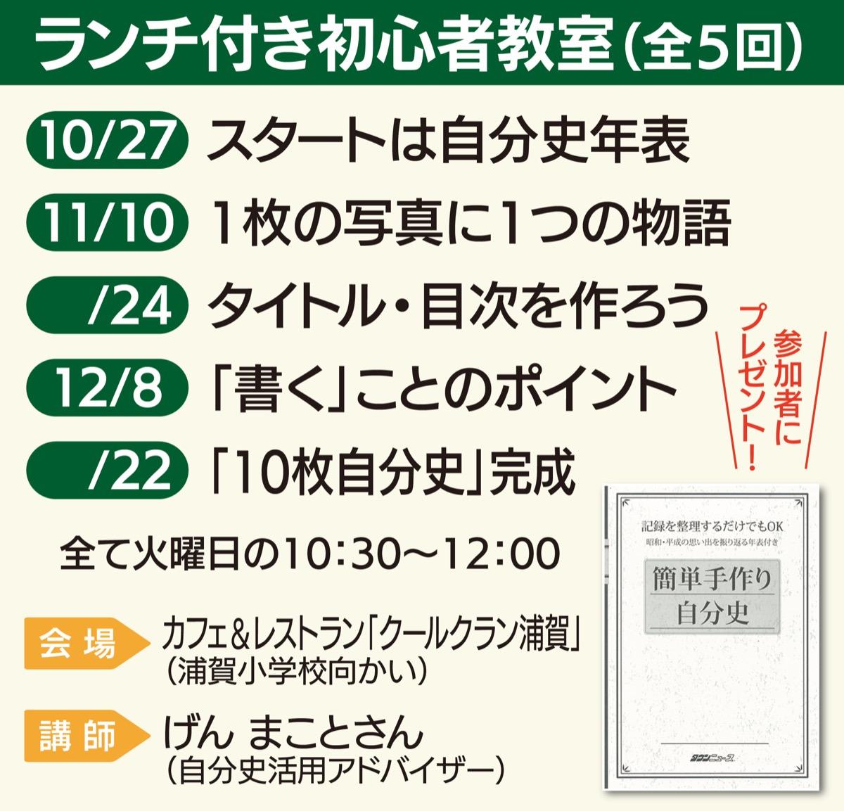 記憶の整理整頓「自分史教室 」タウンニュース社主催@横須賀市・浦賀
