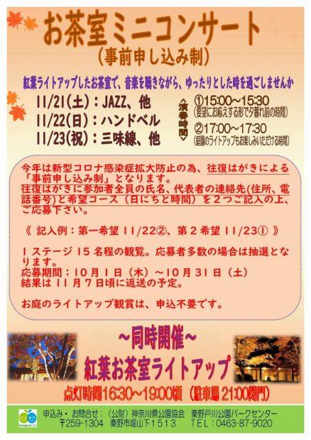 【要事前申込】 ライトアップも楽しめる「お茶室ミニコンサート」@秦野野戸川公園