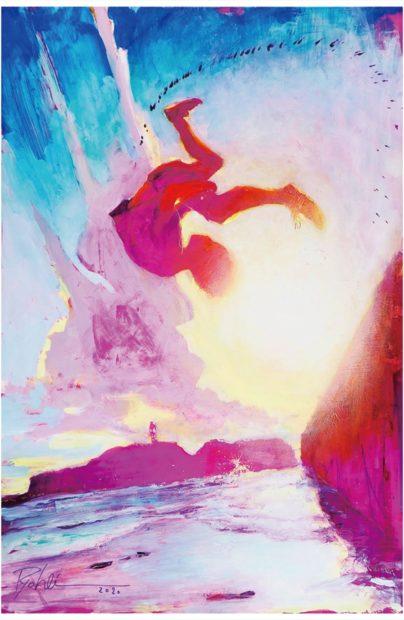 """ナイキのイラストなども手掛ける現代絵師の山下良平さん「藤沢の""""躍動""""イラストに」@藤沢"""