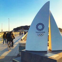 東京五輪に向け機運上げよう!江の島の不思議なモニュメント