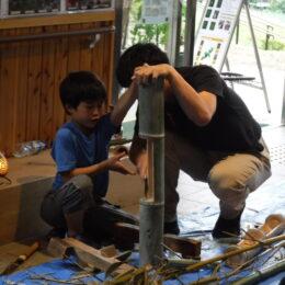 昔ながらの竹細工作り<いせはら塔の山緑地>