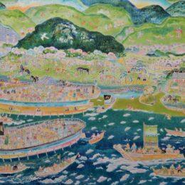 坂下昿吉さんが横浜市金沢区の風景を描いた個展「金澤湊平成詞絵」@横浜市中区