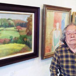 絵筆で画面に空気を宿す「藤井兼弘展」大磯町のカフェmagnetで開催