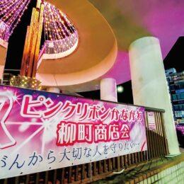 【秦野市】柳町商店会 乳がん検診 呼びかけ 10月末まで渋沢駅北口ロータリーをライトアップ